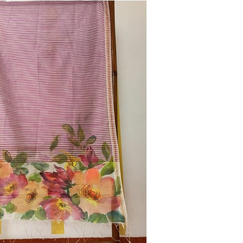 Hand Painted Floral Handwoven  Cotton Stole/Dupatta