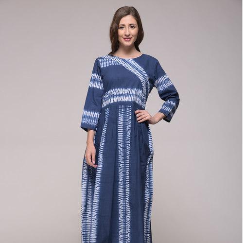 Blue Shibori Striped Dress