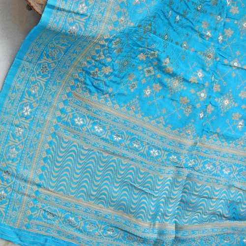 Blue Banarsi Brocade Indian Ethnic Dupatta