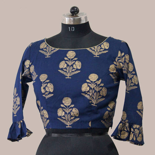 Blue Gold Mughal Print Saree Blouse