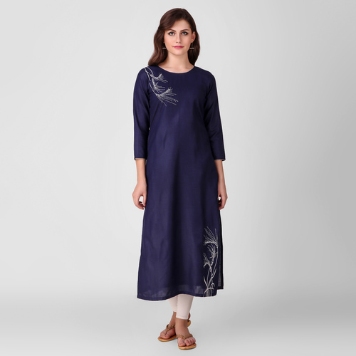 Blue Embroidered Cotton Kurta