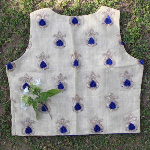 Blue Kota Doria Gota Embroidered Waistcoat