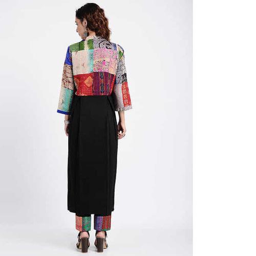 Black Kantha-Embroidered Cotton Kurta with Pants (Set of 2)