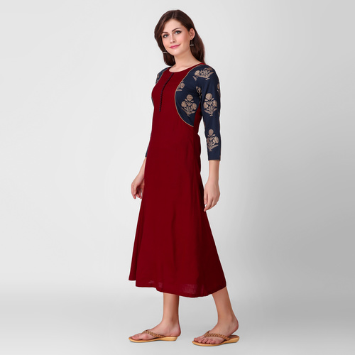Red Navy Patch Dress