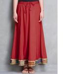 Red Cotton Silk Kantha Border Skirt