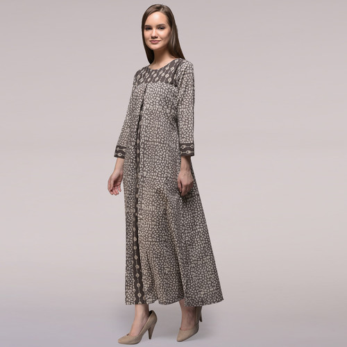 Grey Pleated Dabu-printed Cotton Dress
