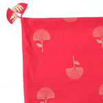 Red Gold Printed Ginko Leaf Indian Ethnic Cushion Covers