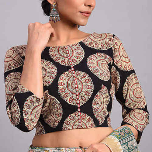 Black-Brown Printed Cotton Blouse