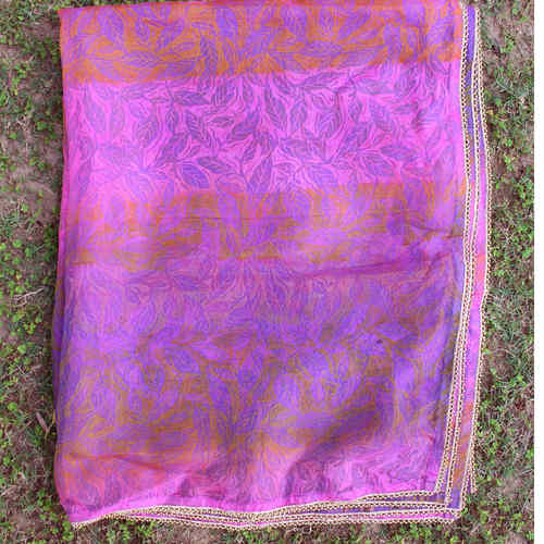 Leaf Printed Multi Colored Silk Chanderi DupattaOdhini