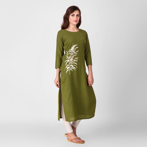 Green Zari Embroidered Cotton Kurta