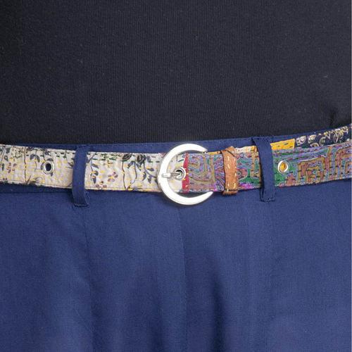 Blue Cotton Silk Palazzo Pant with Kantha Belt Set of 2