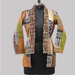 Vintage Asymmetrical Cut Silk Kantha Jacket