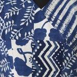 Indigo Block Print Dabu Overlap style  saree Blouse