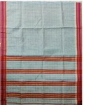 Grey Red Border Narayanpet Cotton Handloom Saree