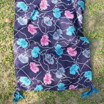 Blue Silk Floral Printed Stole