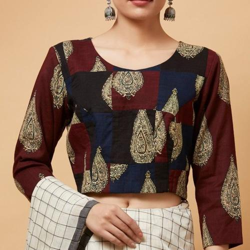 Printed Kalamkari Patch Blouse