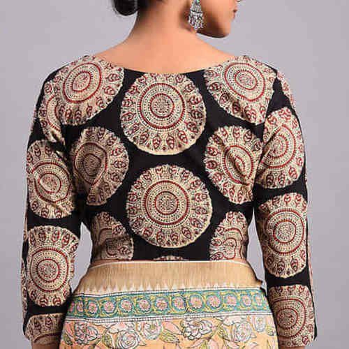 Black-Brown Printed Cotton Blouse