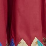 Red Cotton silk Kantha patch Palazzo with Kantha Belt Set of 2