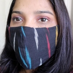 Pack of 4 Black Handloom Ikat Mask