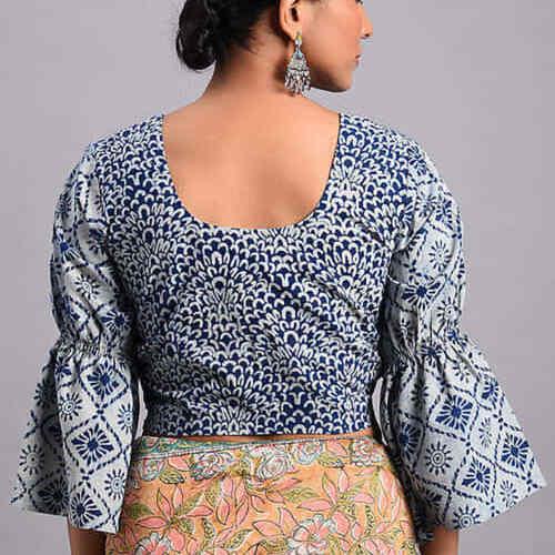 Indigo Dabu Cotton Blouse With Flared Sleeves