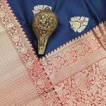 Navy Blue & Red Banarsi Blended Silk Saree