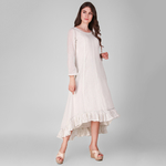 Ivory Cotton lurex gathered frill dress with cotton slip Set of 2