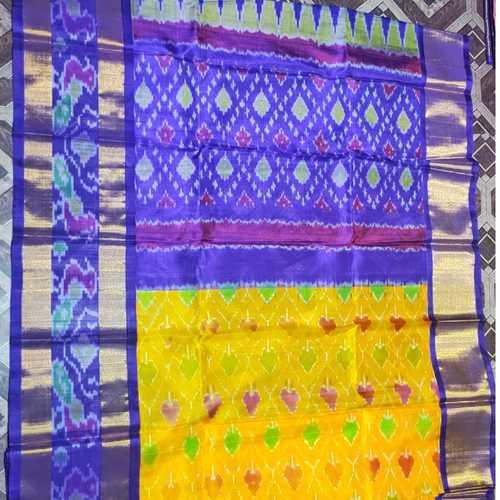 Blue Yellow Pochampalli Silk Saree by B. Yeswanth