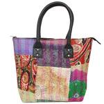 Vintage Silk Kantha Multi colored Indian Ethnic Tote Bag