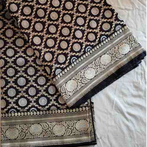 Black Silk Benarsi Saree