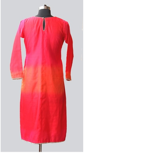Pink Silk Shaded Chanderi Yoke Kurta