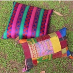 Silk Cushion Covers with Kantha and Woven pattern (Set Of 2)