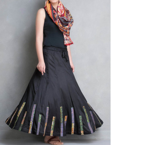 Black Cotton Silk Kantha Patch Skirt