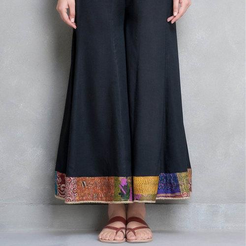 Black Cotton silk Palazzo Pant with Kantha Belt (Set of 2)