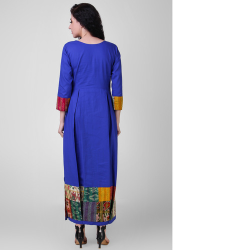 Electric Blue Pleated Cotton-silk Dress with Kantha Embroidery