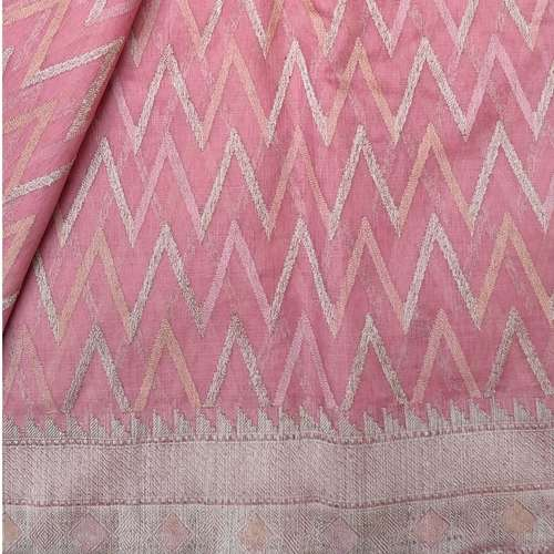 Pink Benarsi Cotton Silk Saree by Destitute Lok Kalyan Silk Bunkar