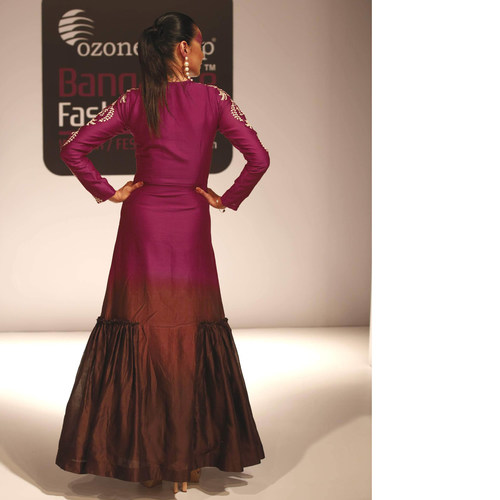 Ombre Dyed Silk Chanderi Embroidered Gather Dress