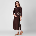 Brown Embroidered Cotton Kurta