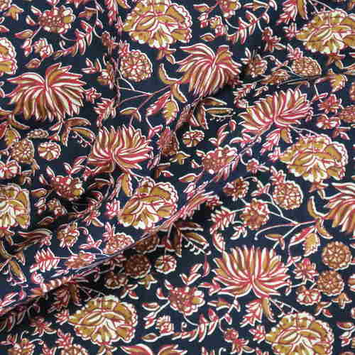 Black Red Floral Printed Fabric