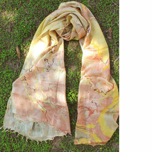 Yellow Pink Banana Silk StoleDupatta