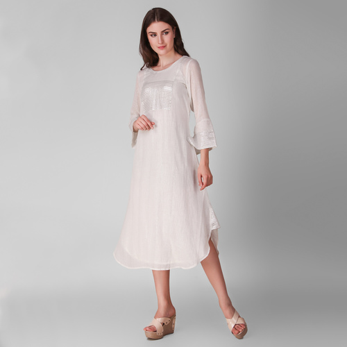 Ivory Cotton Lurex Patch Dress - Set Of Two