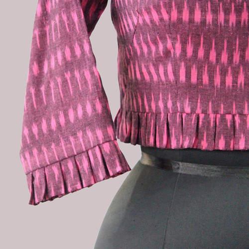Pink Ikat Saree Blouse