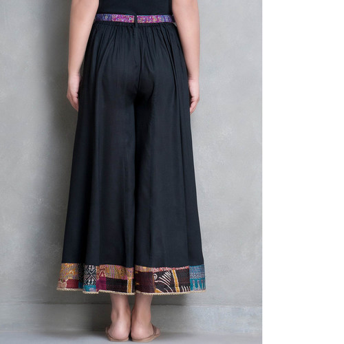 Black Cotton silk Palazzo Pant with Kantha Belt Set of 2