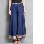 Blue Cotton Silk Palazzo Pant with Kantha Belt (Set of 2)