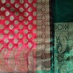 Red Green Benarsi Artificial Silk Saree by Destitute Lok Kalyan Silk Bunkar