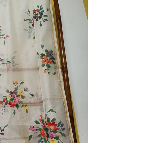 Hand Painted Floral bouquet Handwoven Indian Cotton Stole/Dupatta/