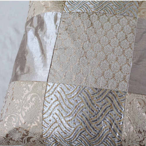 Gold White Silver Brocade Patch  Cushion Cover 16x16