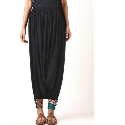 Black cotton silk Harem Pant with Silk Kantha Cuff