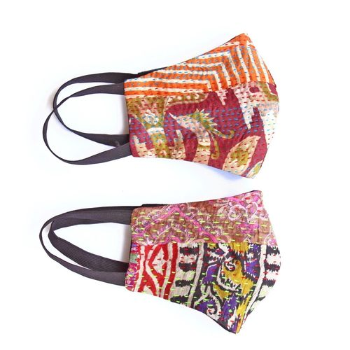 Silk Kantha Reusable Mask Set of 2
