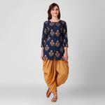 Blue Gold Print Tunic with Dhoti Pant Set of 2