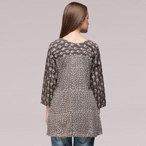 Grey Pleated Dabu-printed Cotton Tunic